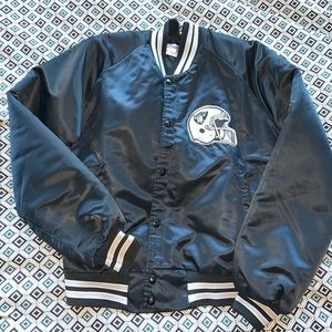 Vntg Black Oakland Raiders Varsity Jacket M